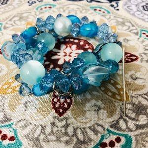 Cookie Lee Blue Glass Bead Bracelet 89966 NWT